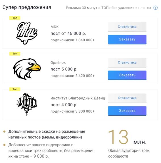 Реклама в пабликах в Вконтакте