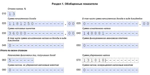 Заполненный раздел 1 формы 6-НДФЛ
